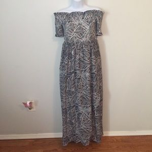 Bebe Leaf Printed Smock Maxi Dress Size Small